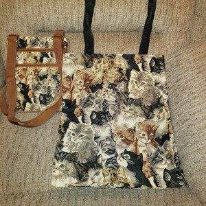 Brand New Cat Tote And Bag!